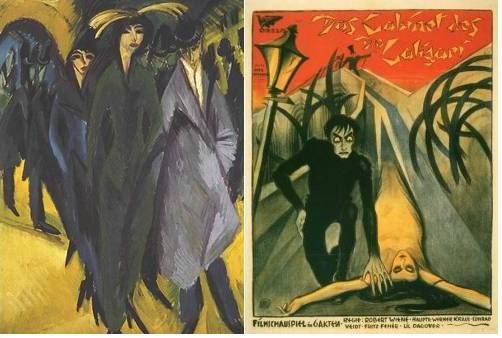 """Mujeres berlinesas (1915) de Kirchner, cartel de """"El gabinete del Dr. Caligari"""" (1920) de Robert Wiene"""