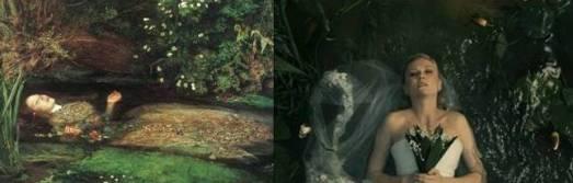 """""""Ofelia"""" de Millais (1852) y Kirsten Dunst en """"Melanchollia"""" (2011)"""